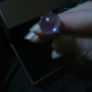 925銀白銀K天然紫水晶女戒