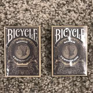 Silver Certificate Bicycle Playing cards