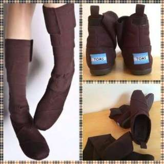 TOMS Wrap Shoes Chocolate Brown Boots