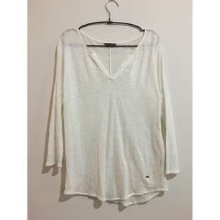 MASSIMO DUTTI White Knitted Thin See-Through Sweater