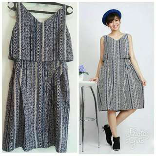 ethnic navy dress