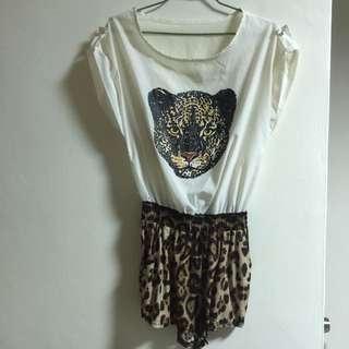 豹紋連身褲