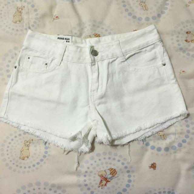 全新💗白色牛仔短褲