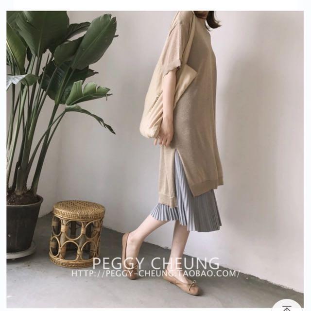 韓版慵懶微光澤百搭冰絲涼感連身針織洋裝/長版上衣