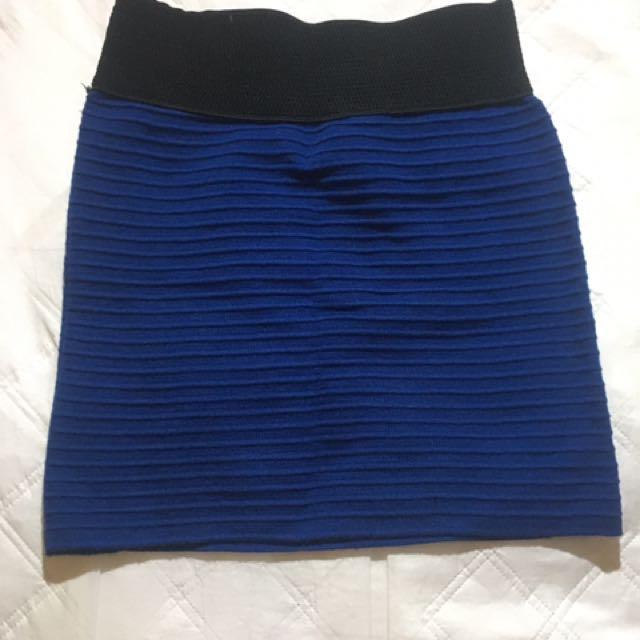 彈性寶藍色短裙