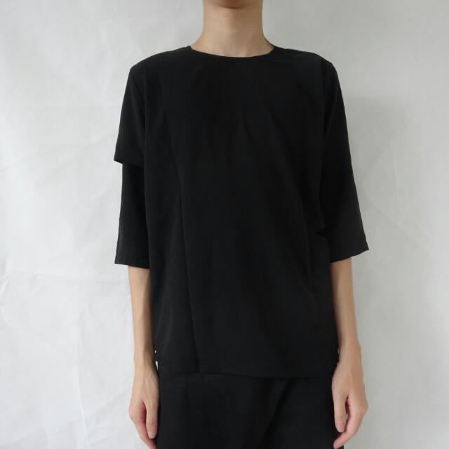 暗黑雙袖設計五分袖