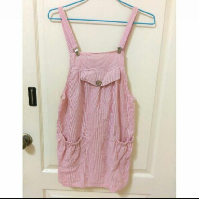 粉色條紋吊帶裙#大掃除五折