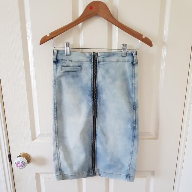 Acid Wash Denim Midi Skirt Size 10