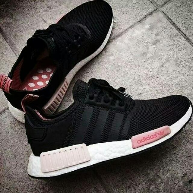 newest 89f8b 332d3 Adidas NMD R1 Black Peach Pink, Women s Fashion, Shoes on Carousell