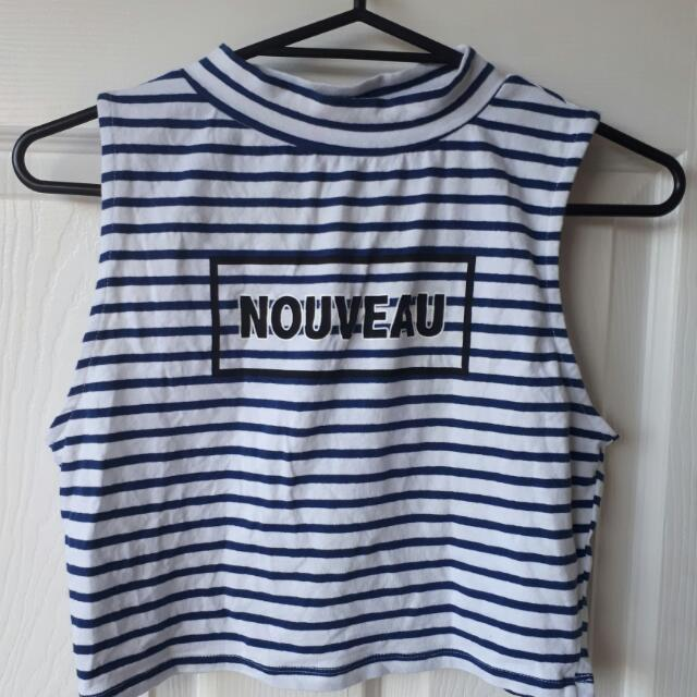 Atmosphere - Blue stripped Cropped Top.