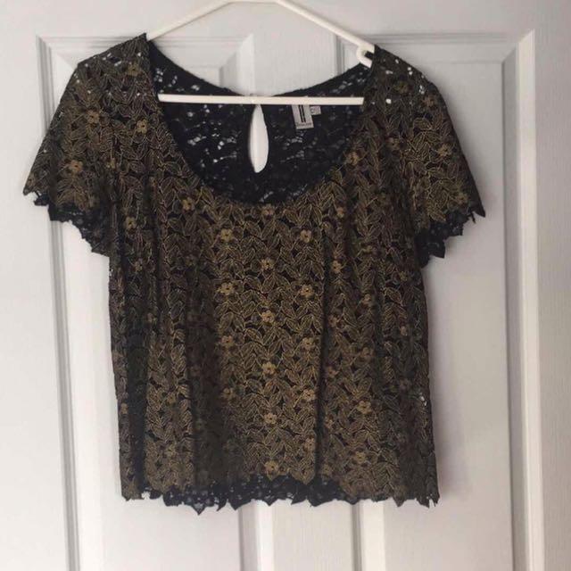 Bettina Liano Gold & Black Lace Brocade Top 12
