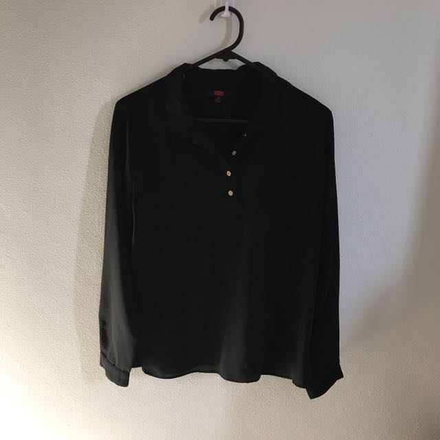 Black Blouse W/ Gold Buttons