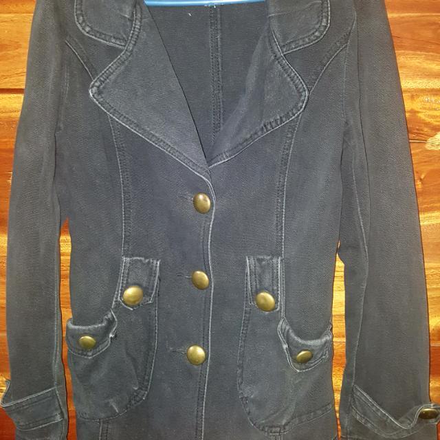 Black Denim Casual Coat