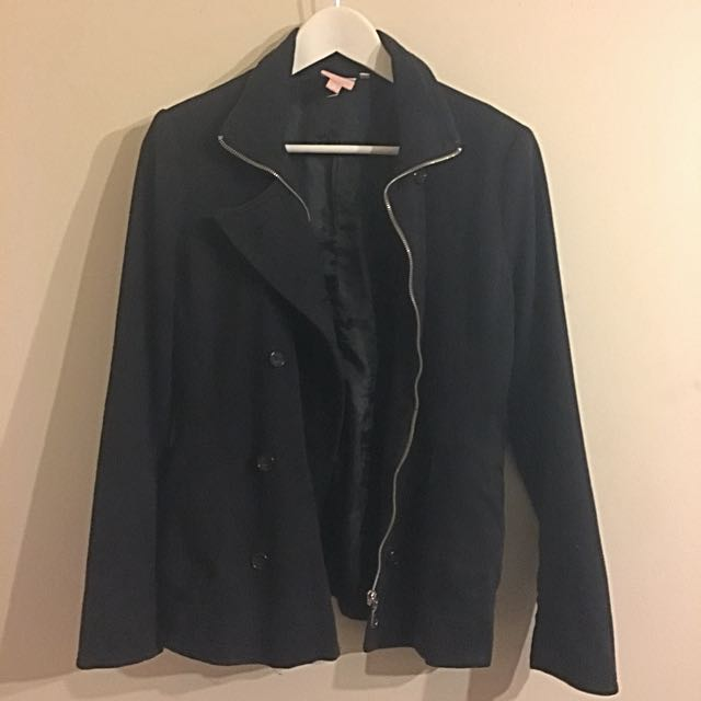 Black Double Breasted Zip Up Jacket Size 8