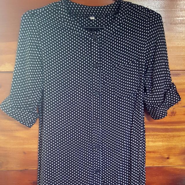 Black Polkadots 3/4 Sleeved Shirt