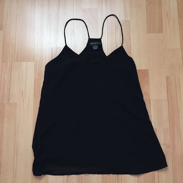 Black Silk Like Material Tank