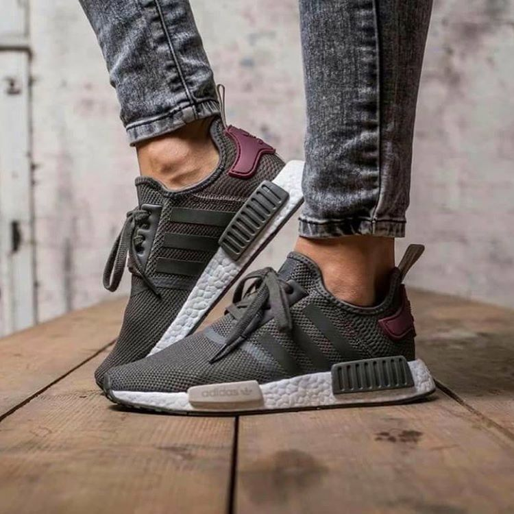 618b67b81 ... inexpensive bn authentic adidas nmd r1 utility grey maroon bba7752  womens fashion shoes on carousell 226c9