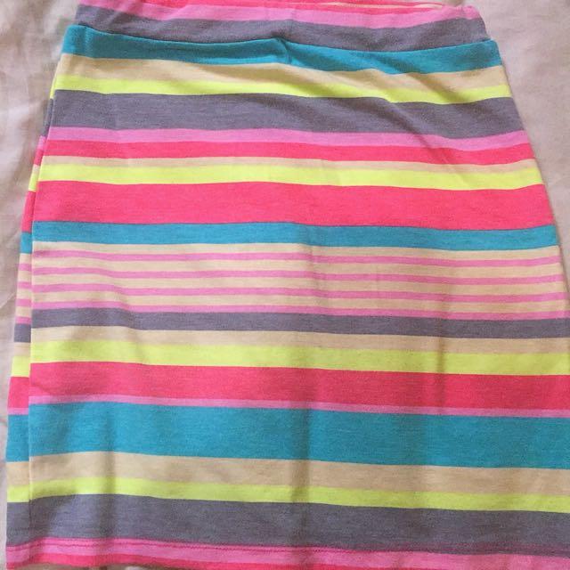 Body Con Rainbow Skirt