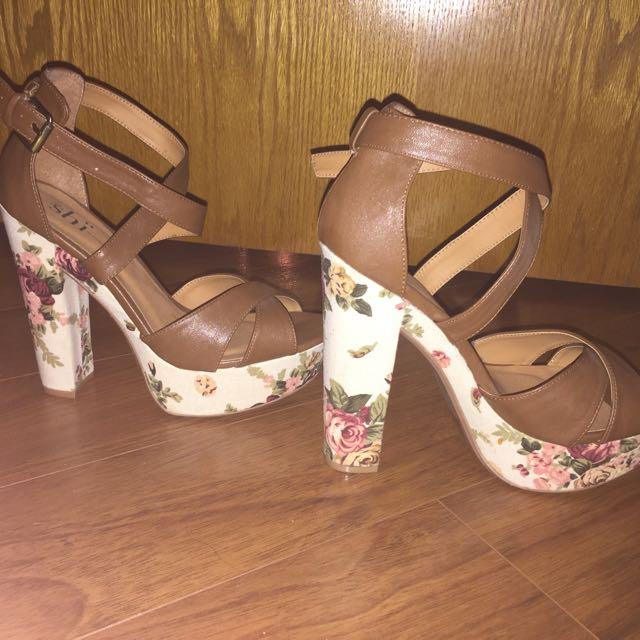 Brown Floral High Heels