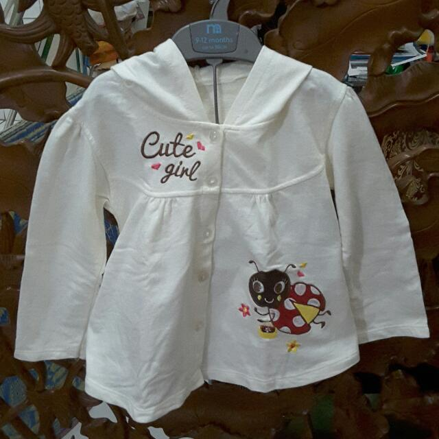 Cute Girl White Jacket For 1-2 Years Old