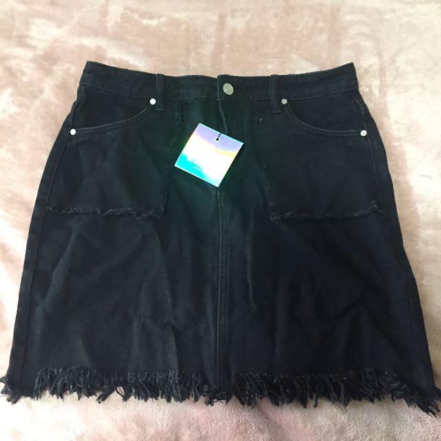 Denim Black Skirt with fringe