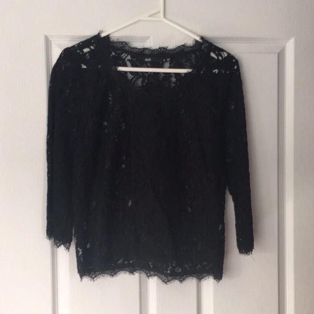 Dotti Black Floral Lace 3/4 Sleeve Top 10