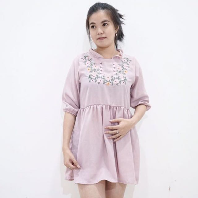 dress pink bunga bangkok