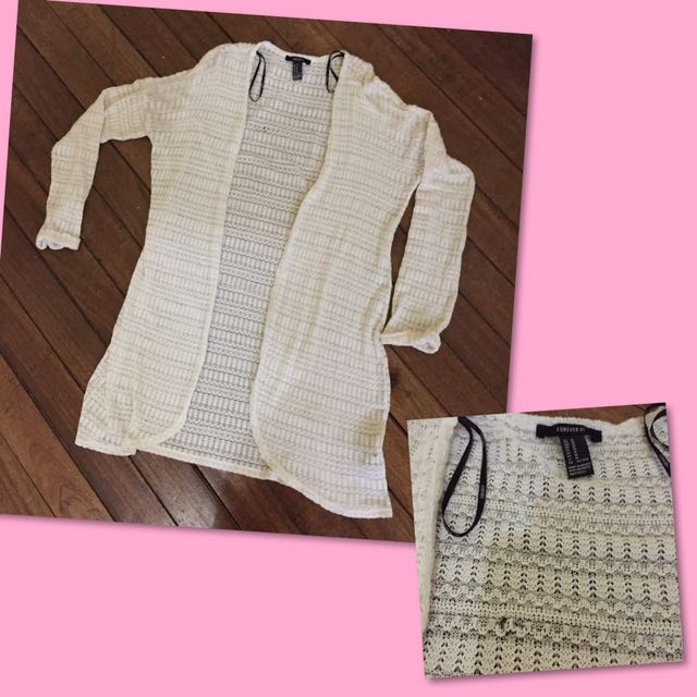F21 long knitted cardigan