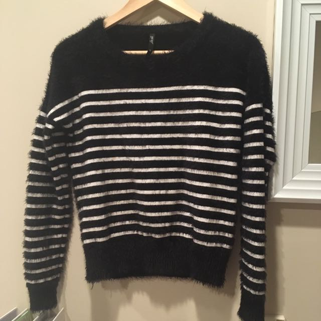 Fluffy Black And White Stripped Sweater