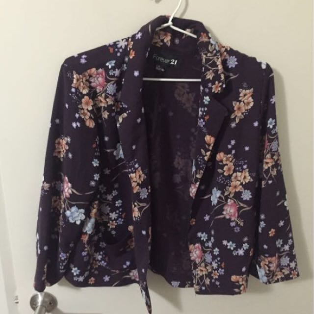 Forever 21 Chiffon Floral Throwover Blazer