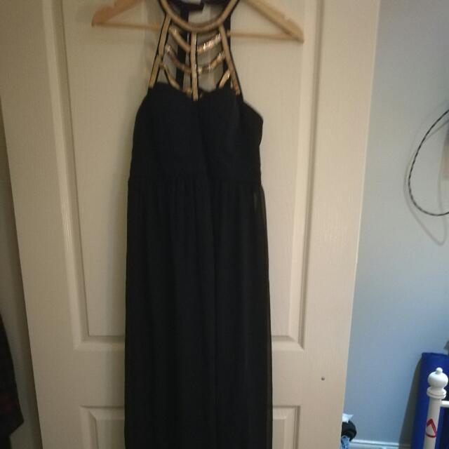 Gold Black Formal Dress