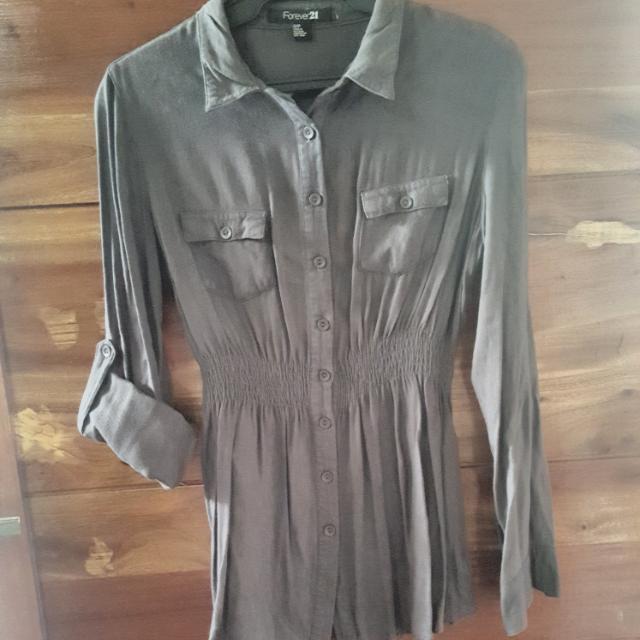 Gray Forever 21 Long Shirt