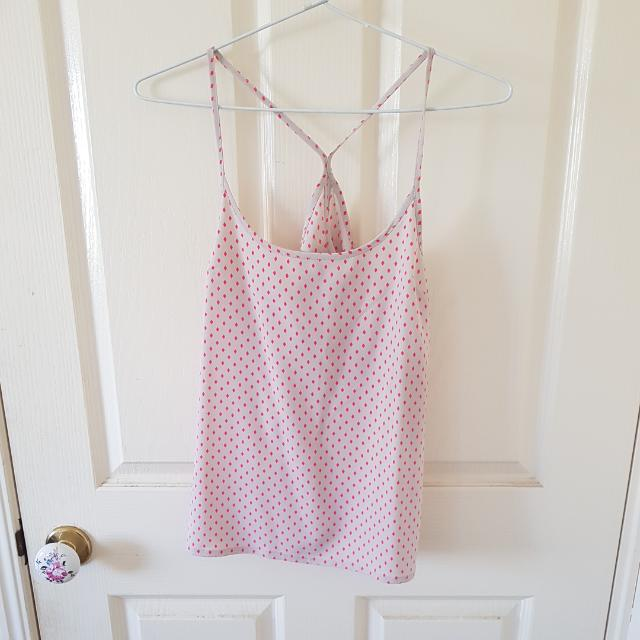 Grey + Pink Patterned Top Size 8/XS