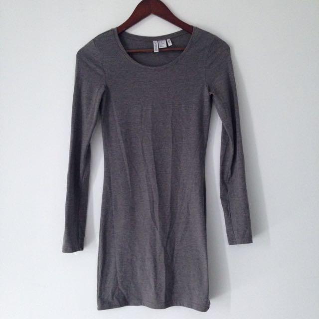 Grey Long Sleeved Jersey Dress