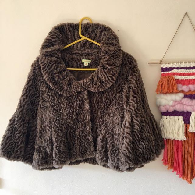 Imitation Fur Cape / Bolero / Jacket Size 10