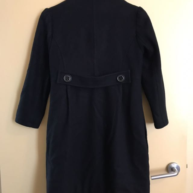 Izzue Size Xs Size 6 Black Wool Cashmere Coat 3/4 Sleeves