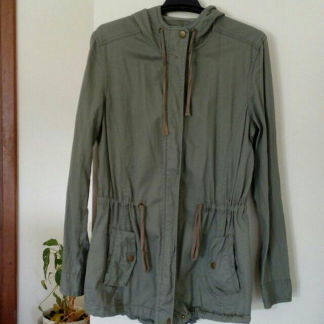 Khaki Light Jacket Hoodie Green Throw over