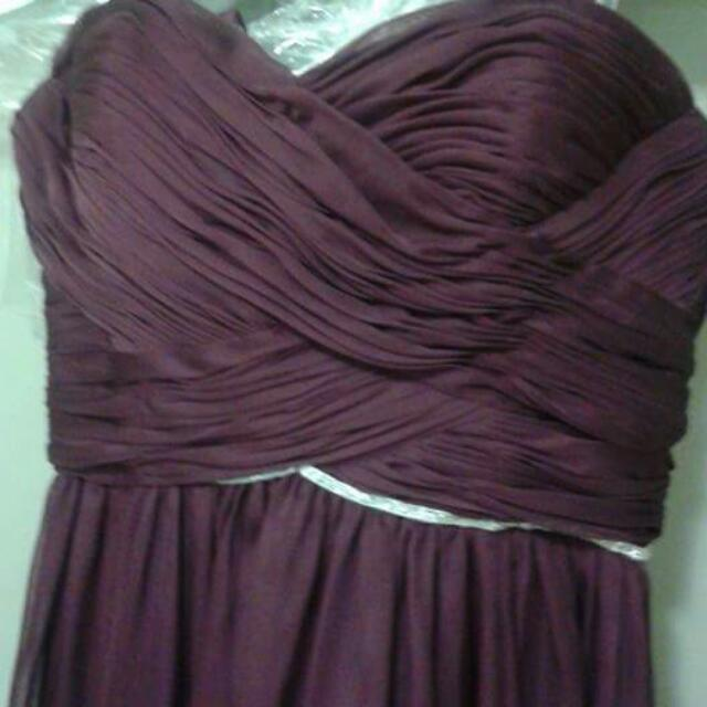 Lê Chateau Chiffon Long Dress Burgundy Size S