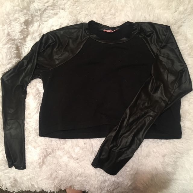 Leather Sleeved Crop Top