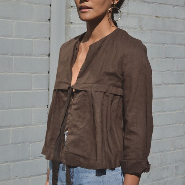 Linen and Cotton brown blouse with single tie closure