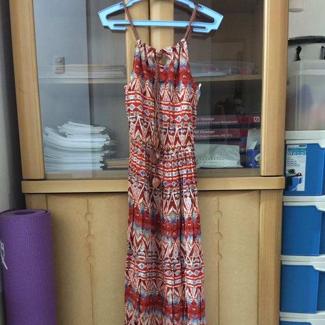 Long Printed Dress with Leather Straps