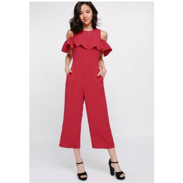 102bf9d23542 Love Bonito Jaldyn Ruffle Off Shoulder Jumpsuit In Red Size XS ...