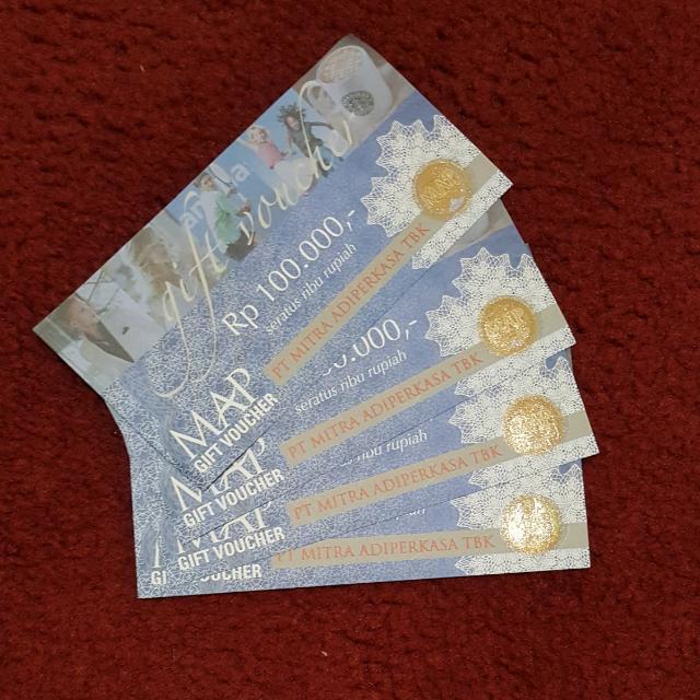 MAP Gift Voucher @ Rp.100.000 (4 Lembar), Tiket & Voucher, Kartu Hadiah & Voucher di Carousell