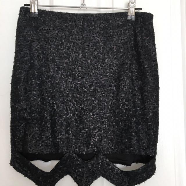 Matte Black Sequin Skirt