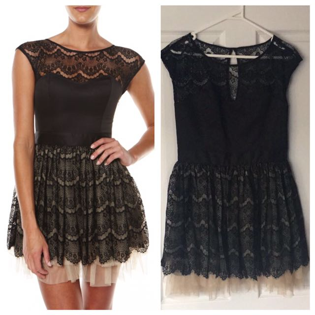 Milk And Honey Black Lace Bustier Tulle Dress 12