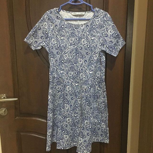 minimal batik blue dress