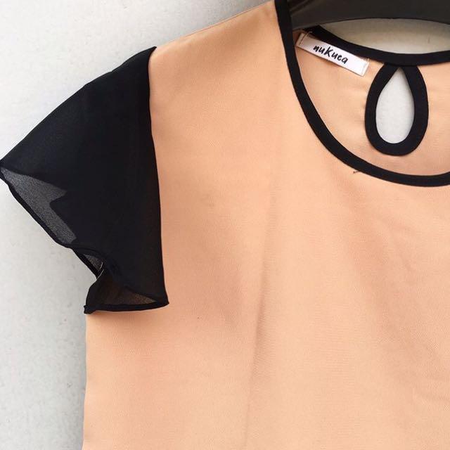 Peach Rufflesleeve Top