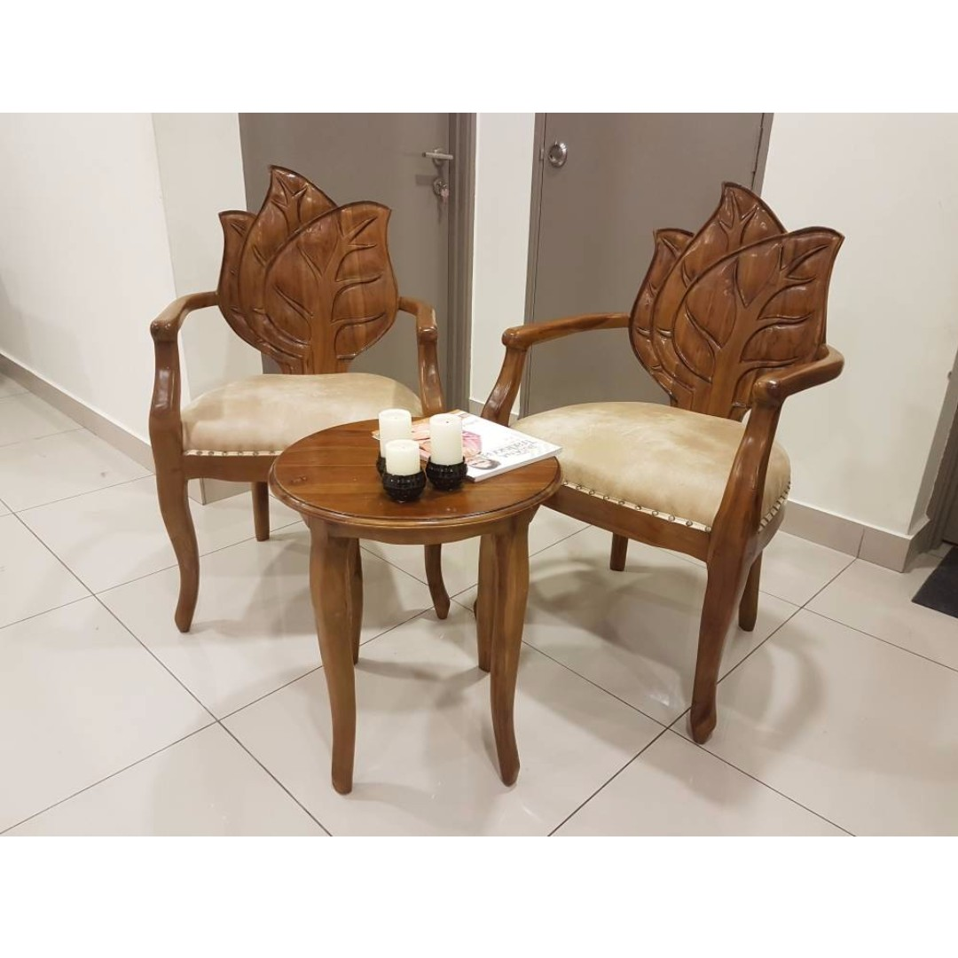 Perabot Set Meja Kerusi Coffee Table Kayu Jati Home Furniture On Carou