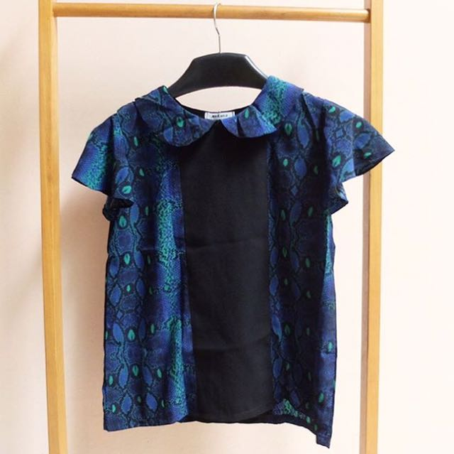 Phyton Blue And Black Top