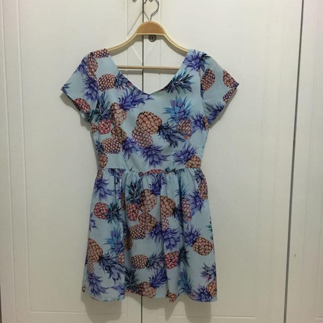 Pineapple Print Skater Dress